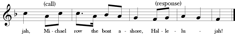 "2/4 time signature key of F Major. Last five measures of ""Michael Row Your Boat Ashore."""