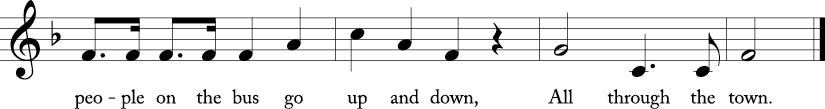 "4/4 time signature, Key of F Major. Last four measures of ""People on the Bus."""