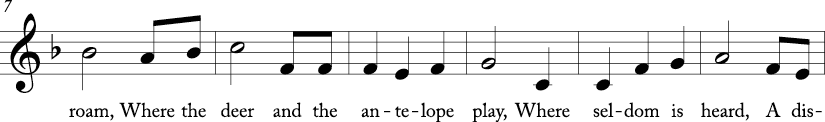 """3/4 time signature in key of F major. Next six measures of """"Home on the Range."""""""