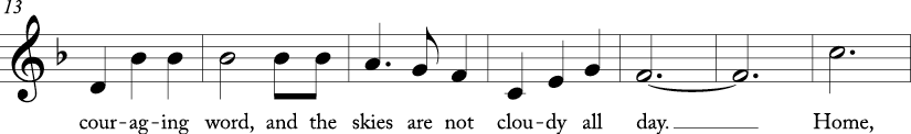 "3/4 time signature in key of F major. Next seven measures of ""Home on the Range."""