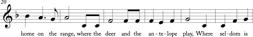 "3/4 time signature in key of F major. Next six measures of ""Home on the Range."""