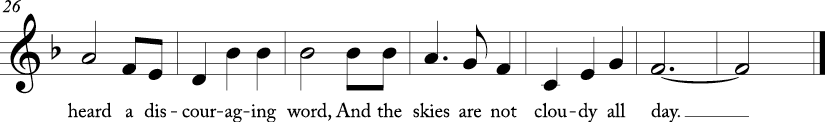 "3/4 time signature in key of F major. Last seven measures of ""Home on the Range."""