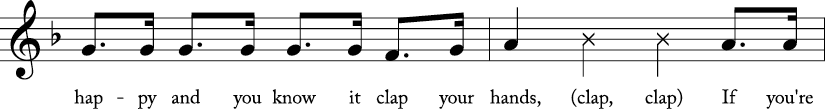 "4/4 time signature in Key of F. Second 2 measures of ""If You're Happy and You Know It."""