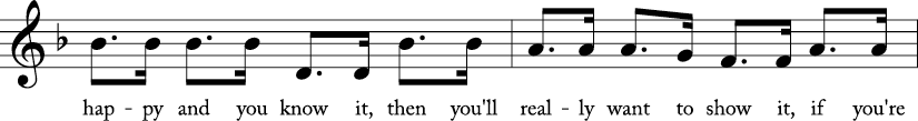 "4/4 time signature in Key of F. Third 2 measures of ""If You're Happy and You Know It."""