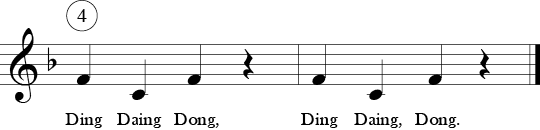 "4/4 time signature in Key of F. Last two measures of ""Frere Jacques"" showing  a 4 above 1st measure showing the 4th round entry."