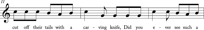 "6/8 time signature C Major. Next 3 measures with lyrics for ""Three Blind Mice."""