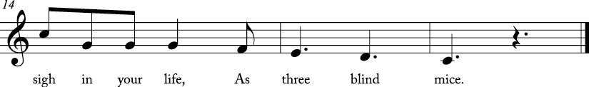 "6/8 time signature C Major. Last 3 measures with lyrics for ""Three Blind Mice."""