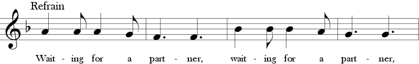 F Major. 6/8 Time Signature. Third four measures of Oats, Peas, Beans and Barley Grow. One sees the long short rythm pattern in the quarter to eighth note pattern.