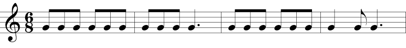 6/8 Time Signature. First our measures of a warm-up with repeated g notes in eighth notes.