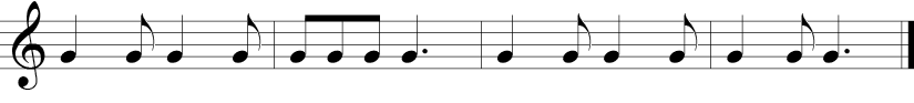 6/8 Time Signature. Second four measures of a warm-up with repeated g notes now primarily in a pattern of alternating quarter notes and eighth notes.