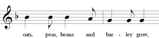 F Major. 6/8 Time Signature. Second two measures of Oats, Peas, Beans and Barley Grow. Called phrase 2.