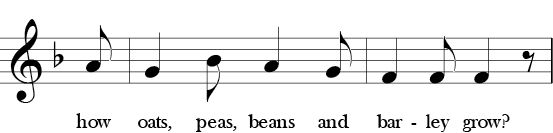 F Major. 6/8 Time Signature. Fourth two measures of Oats, Peas, Beans and Barley Grow. Called phrase 4
