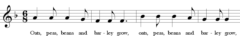 F Major. 6/8 Time Signature. First four measures of Oats, Peas, Beans and Barley Grow. Phrases 1 and 2