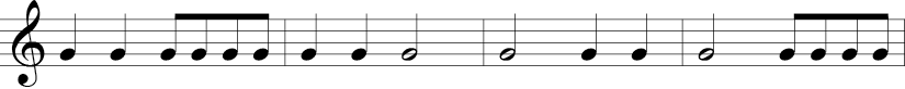 C Major. 4/4 Time Signature. Four measures with a single G note in different rhythms.