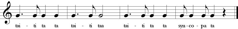 C Major. 4/4 Time Signature. Second four measures with a single G note in different rhythms, focused on syncopated rhythms.