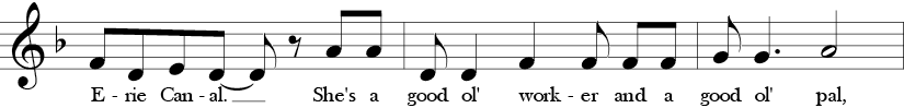 F Major/d minor. 4/4 Time Signature. Second three measures with a repetition of the A and D notes, and thus D minor sound.