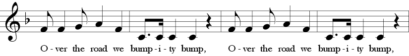 "4/4 Time Signature. F Major. First four measures of ""Bumpity Bump."" Treble clef melody with syncopation, dotted rhythms, and fun lyrics."