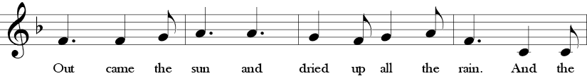 "6/8 Time Signature. F Major. Third four measures of ""Eensy Weensy Spider."" Treble clef melody with the feel of 3s due to time signature."
