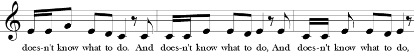 "4/4 Time Signature. C Major. Second three measures of ""Cock a Doodle Doo."" Treble clef melody with repeated notes, thirds and stepwise motion."