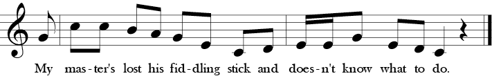 "4/4 Time Signature. C Major. Last two measures of ""Cock a Doodle Doo."" Treble clef melody with a pick-up fourth to C and then descending motion before a simpleending with the thirds back to the lower C."