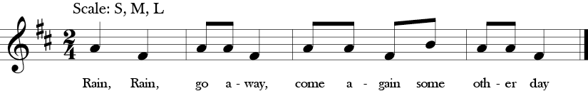 "2/4 Time Signature. D Major. Song ""Rain, Rain Go Away"" with four measures only three notes A, F, and B."