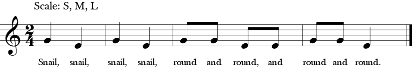 "2/4 Time Signature, no sharps or flats. Song ""Snail, Snail"" also four measure two note tune with G and E."