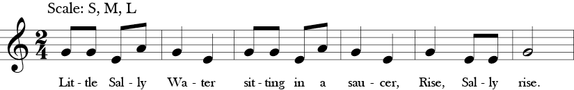 "2/4 Time Signature. C Major. First 6 measures of ""Little Sally Water."" Melodic thirds and notes are G, E, A."