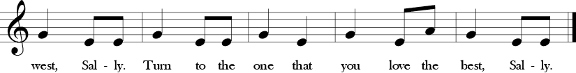 "2/4 Time Signature. C Major. Last 5 measures of ""Little Sally Water."" Melodic thirds and notes are G, E, A."
