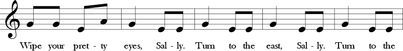 "2/4 Time Signature. C Major. Second 5 measures of ""Little Sally Water."" Melodic thirds and notes are G, E, A."