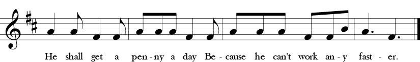 "6/8 Time Signature. D Major. Last four measures of ""See Saw, Margery Daw"" with simple melody with A, F sharp, B."