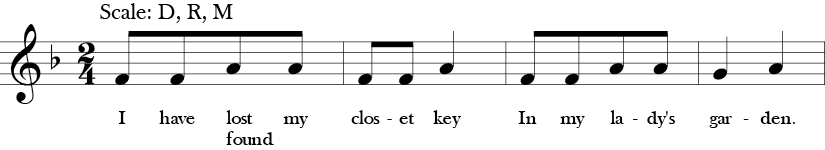 "2/4 Time Signature. F Major. First four measures of ""I Have Lost my Closet Key"" with simple three note melody F, G, and A, which is Do, Re, Mi in solfege."