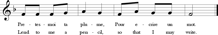 "2/4 Time Signature. F Major. Last four measures of ""Au Clair de la Lune"" with simple three note melody F, G, and A, which is Do, Re, Mi in solfege."