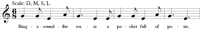 "6/8 Time Signature. Key of C. First four measures of ""Ring Around the Rosy"" with three note melody G, E, A or Sol, Mi, La in Solfege."