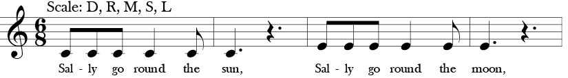 "6/8 Time Signature. Key of C. First four measures of ""Sally Go Round the Sun"" where belody is C E or Do, Mi in Solfege."