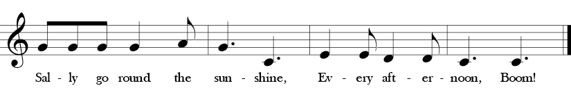 "6/8 Time Signature. Key of C. Last four measures of ""Sally Go Round the Sun"" where belody is C, D, E, G, and A or Do, Re, Mi, Sol, La  in Solfege."