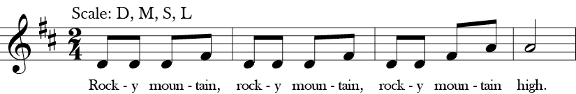 "2/4 Time Signature. D Major. First four measures of ""Rocky Mountain"" with five notes in the melody for the whole song - D, E, F sharp, A or Do, Re, Mi, La in Solfege."