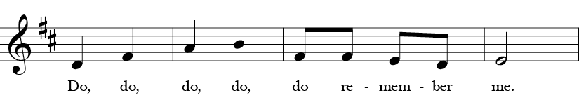 "2/4 Time Signature. D Major. Third four measures of ""Rocky Mountain"" with five notes in the melody for the whole song - D, E, F sharp, A or Do, Re, Mi, La in Solfege."