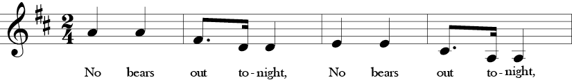 "2/4 Time Signature. D Major. First four measures of ""No Bears Out Tonight"" with many repeated notes and melodic thirds in the melody."