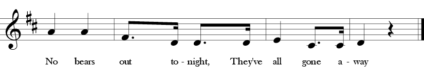 "2/4 Time Signature. D Major. Last four measures of ""No Bears Out Tonight"" with many repeated notes and melodic thirds in the melody."