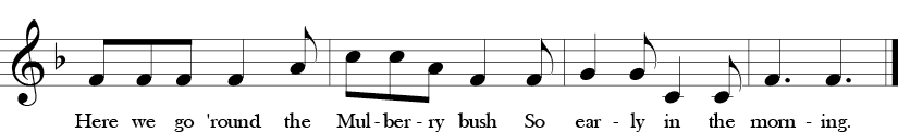 "6/8 Time Signature. F Major. Last 4 measures of ""Mulberry Bush"" with melody that is without Bb or the Fa in solfege."