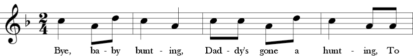 "2/4 Time signature. Key of F. First four measures of ""Bye Baby Bunting."" Use of a repeated C to an A then D motive."