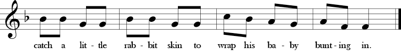 "2/4 Time signature. Key of F. Last four measures of ""Bye Baby Bunting."" Prominent use of descending thirds in the melody."