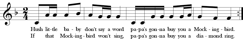 "2/4 Time Signature. F Major. ""Hust Little Baby."" A simple four measure song with a repeat for different lyrics. Large interval starts the 1st and 3rd measure, but otherwise steppwise motion."