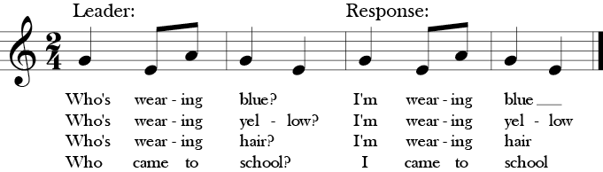 "2/4 Time. No sharps and flats. Simple 4 measure song with three notes G-E-A titled ""Who's Wearing Blue?"""