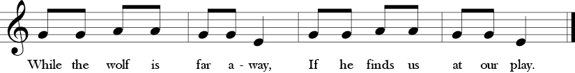 "2/4 Time Signature no sharps or Flats. Last four measures of ""We are Dancing in the Forest"" with only three notes G, A, and E."