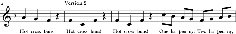 "4/4 Time Signature. F Major. Second 4 measures of ""Hot Cross Buns"" with ending of first phrase and then version 2 has melodic 4th F to C leading to C descending and ascending."