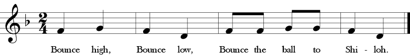 "2/4 Time signature. F Major. Song ""Bounce High"" with four measure melody of F, G, D or Do, Re, La in solfege.."