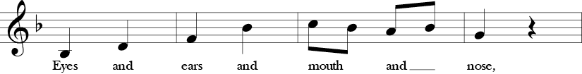 "2/4 Time signature. F Major. Third 4 measures of ""Head, Shoulders, Knees, and Toes."""
