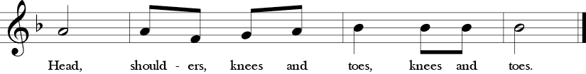 "2/4 Time signature. F Major. Last 4 measures of ""Head, Shoulders, Knees, and Toes."""