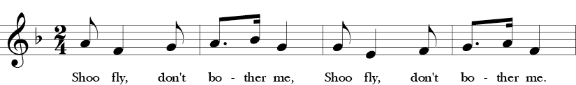 "2/4 Time signature. F Major. First 4 measures of ""Shoo Fly."""